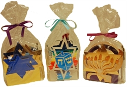 Picture of Dreidel, Menorah & Star of David Note Caddies