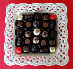 Picture of Porcelain Dish with Gourmet Truffles & Chocolates